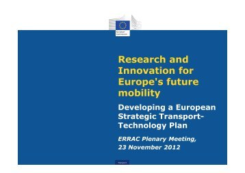 Research and Innovation for Europe's future mobility, Developing a ...