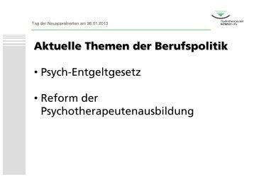 Mein Beruf als Psychotherapeut/in – Wie geht es weiter? Teil 2