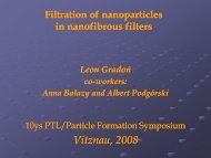 Filtration of nanoparticles in nanofibrous filters - PTL