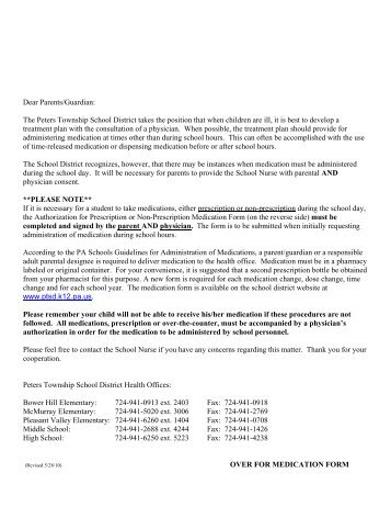 Parent Medication Consent Form - Haverford Township School District