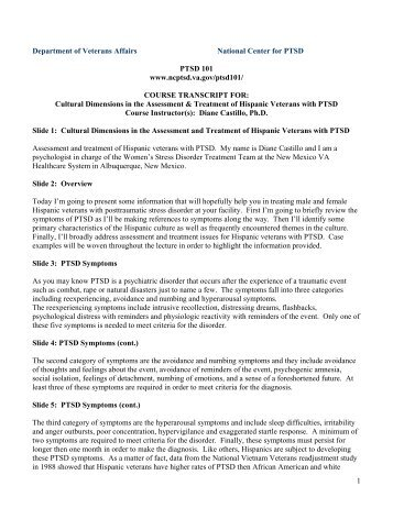Cultural Dimensions in the Assessment & Treatment of Hispanic ...