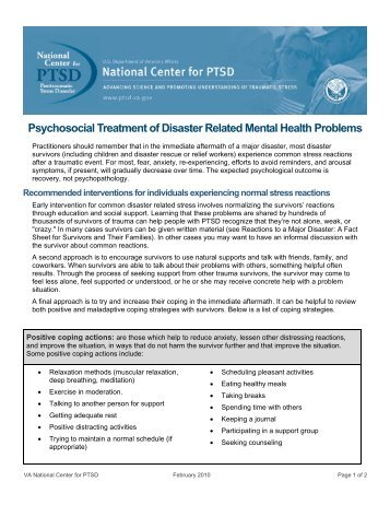 Psychosocial Treatment of Disaster Related Mental Health Problems