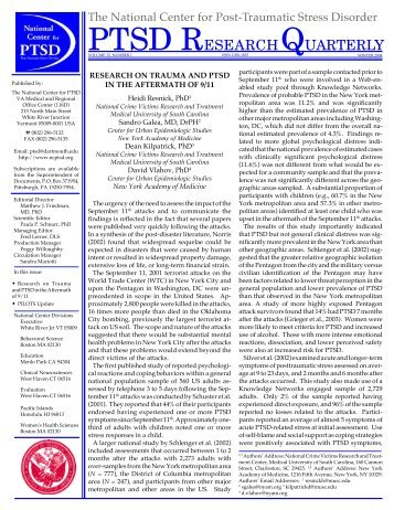 Research on Trauma and PTSD in the Aftermath of 9/11