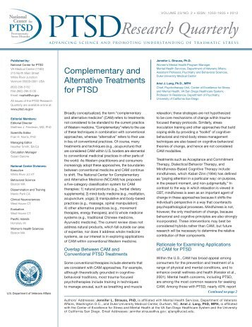 Complementary and Alternative Treatments for PTSD