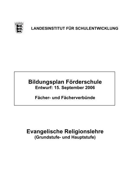 Bildungsplan Fãrderschule Evangelische Religionslehre Ptz