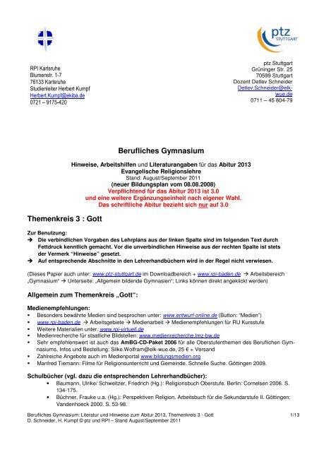 Berufliches Gymnasium Themenkreis 3 : Gott - PTZ