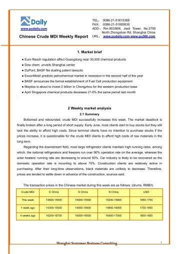 Chinese Polyether Polyols Weekly Report  Sample   Pudaily