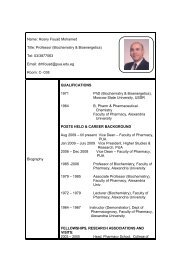 Name: Hosny Fouad Mohamed Title: Professor (Biochemistry ...