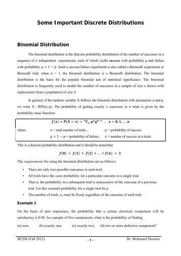 Some Important Discrete Distributions Binomial Distribution