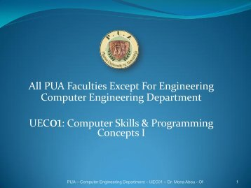 All PUA Faculties Except For Engineering Computer Engineering ...