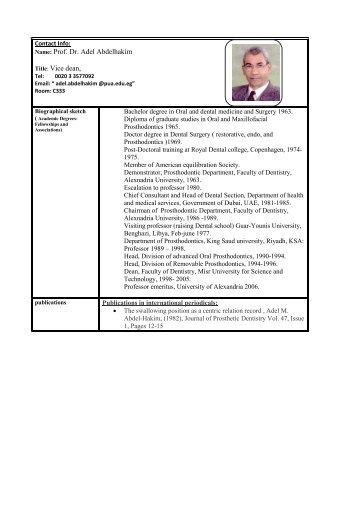 Prof. Dr. Adel Abdelhakim Title: Vice dean - Pharos University in ...