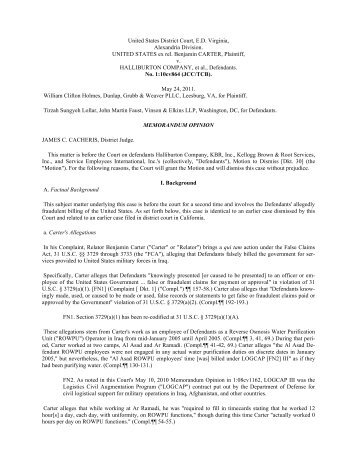 United States District Court, E.D. Virginia, Alexandria ... - PubKLaw
