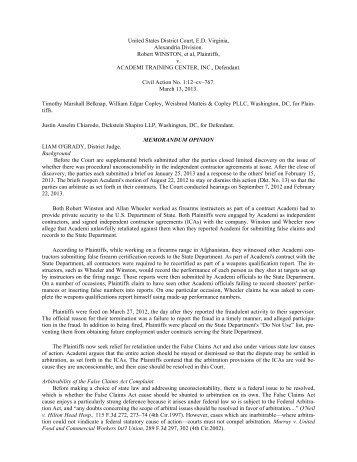 United States District Court, E.D. Virginia, Alexandria ... - PubKLaw