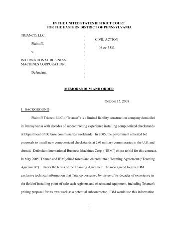 1 IN THE UNITED STATES DISTRICT COURT FOR THE ... - PubKLaw