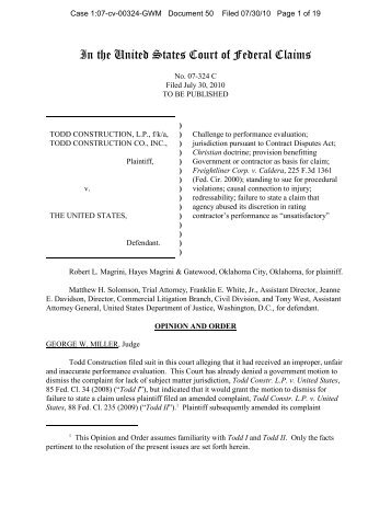 In the United States Court of Federal Claims - PubKLaw