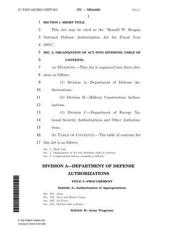 Ronald W. Reagan National Defense Authorization Act ... - PubKLaw