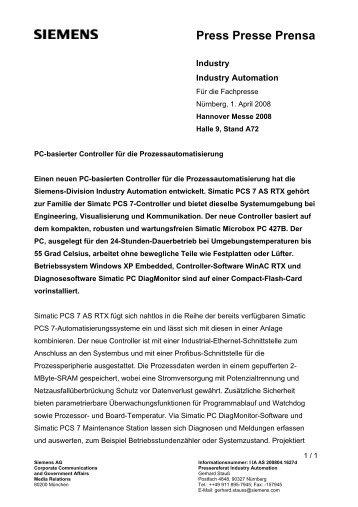 Press Presse Prensa - Siemens AG