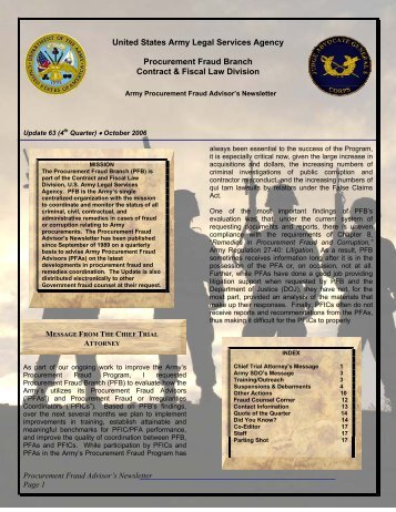 United States Army Legal Services Agency Procurement ... - PubKLaw