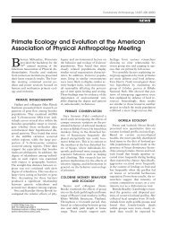 Primate Ecology and Evolution at the American Association of ...