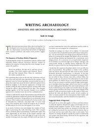Analyses and Archaeological Argumentation - Arizona State University