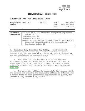 MILPERSMAN 7220-080, Incentive Pay for Hazardous Duty