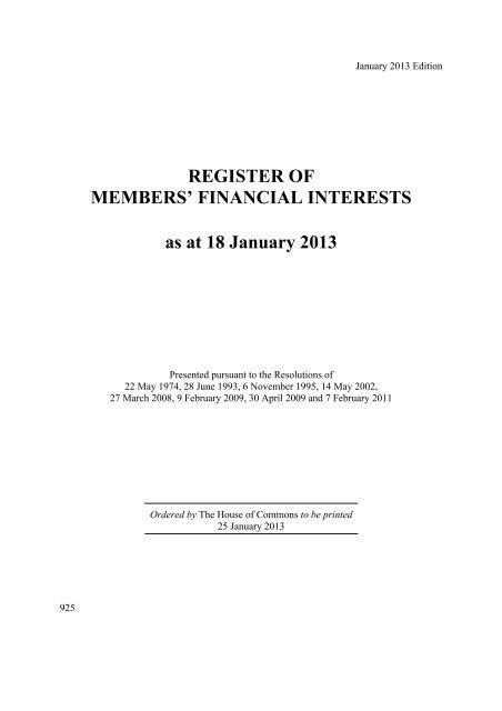 REGISTER OF MEMBERS United Kingdom Parliament