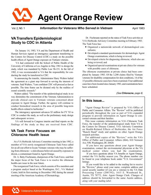 Agent Orange Review Vol 2, No 1 - Public Health - US