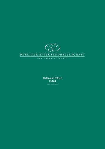 1. Quartal 2004 - Berliner Effektengesellschaft AG