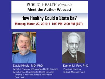 How Healthy Could a State Be? - Public Health Reports