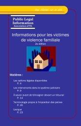 Informations pour les victimes de violence familiale - Public Legal ...