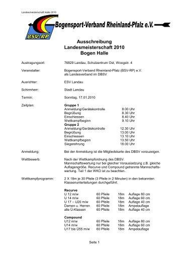 Ausschreibung Landesmeisterschaft 2010 Bogen Halle