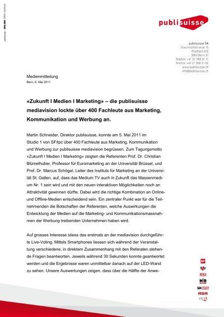«Zukunft I Medien I Marketing» – die publisuisse mediavision lockte ...