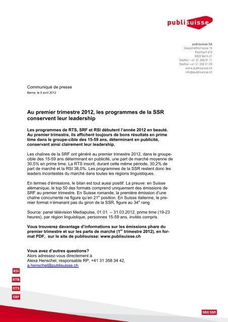 Au premier trimestre 2012, les programmes de la SSR conservent ...