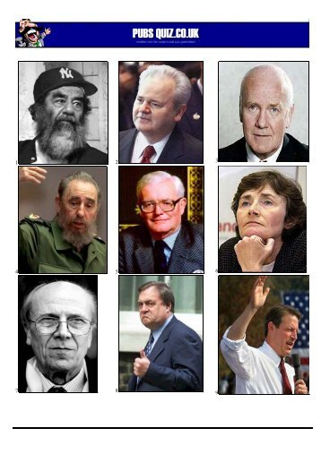 Name the Politicians Picture Quiz - Pubs Quiz