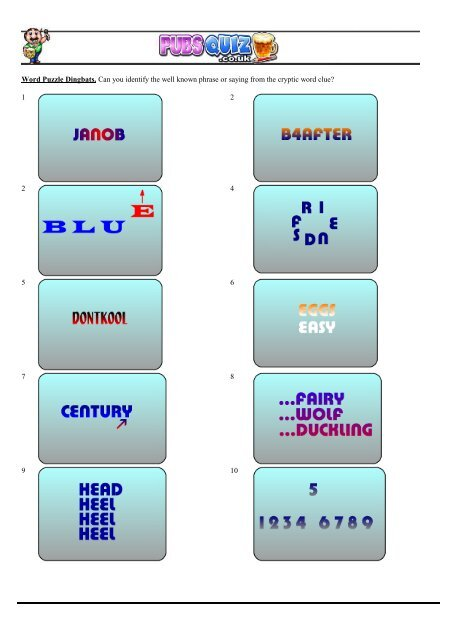 Word Puzzle Dingbats Can You Identify The Well Known Pubs Quiz