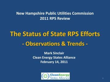 The Status of State RPS Efforts - New Hampshire Public Utilities ...