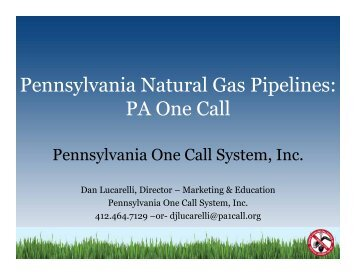 PA One Call - Pennsylvania Public Utility Commission