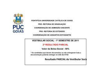 Resultado PARCIAL do Vestibular Social 2011/1 - Ucg