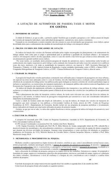 a lotação de automóveis de passeio, taxis e motos em goiânia - Ucg
