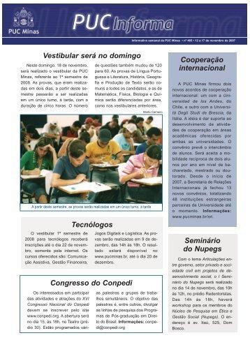 12 a 17 de novembro de 2007 - PUC Minas
