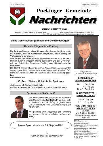 Gemeindenachrichten 9/2008 (3,27 MB) - Gemeinde Pucking