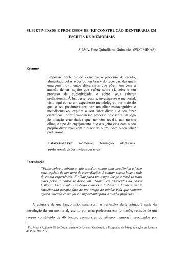 subjetividade e processos de _re_construção ... - PUC Minas