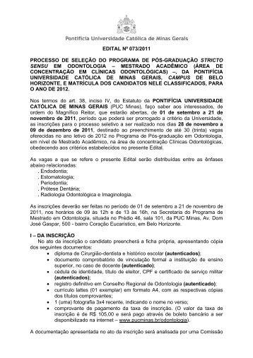 EDITAL Nº 073/2011 PROCESSO DE SELEÑÃO DO ... - PUC Minas