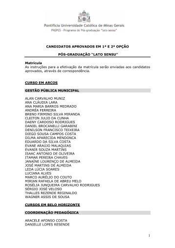 Candidatos Selecionados _44º - PUC Minas
