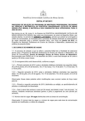 1 EDITAL Nº 067/2011 - PUC Minas