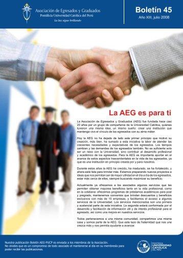 La AEG es para ti Boletín 45 - Pontificia Universidad Católica del Perú