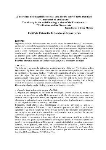 A alteridade no enlaçamento social uma leitura sobre ... - PUC Minas