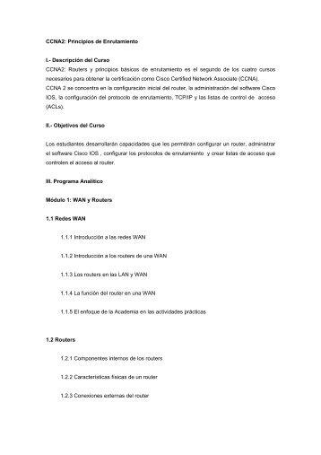 CCNA2: Principios de Enrutamiento I. - Pontificia Universidad ...