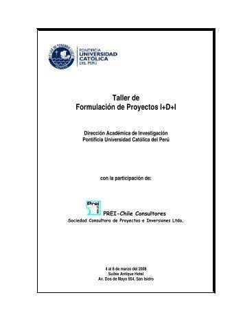 Taller de Formulación de Proyectos I+D+I - Pontificia Universidad ...