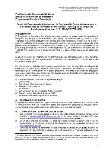 Presidencia del Consejo de Ministros Banco Interamericano de ...